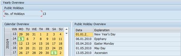Factory Calendar Sales Organization Sap : Calendar in sap