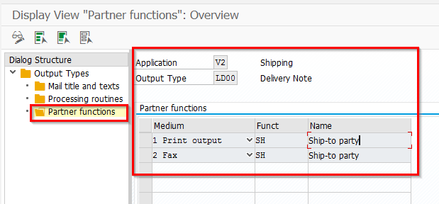 View the Output type settings in NACE